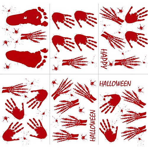 Aytai 60pcs Halloween Bloody Window Clings Handprint Footprint Bloodstain Decal Clings, Bloody Halloween Stickers for Vampire Zombie Party Window Bathroom Haunted House Happy Halloween Decorations ()