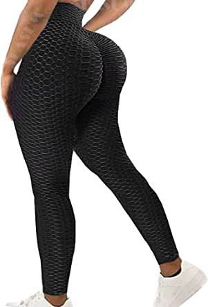 SEASUM Women's High Waist Yoga Pants Ruched Butt Lifting Tummy Control Workout Leggings Stretchy Textured Booty Tights