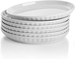 Sweese 157.001 Porcelain Fluted Dessert Salad Plates - 7.4 Inch - Set of 6, White