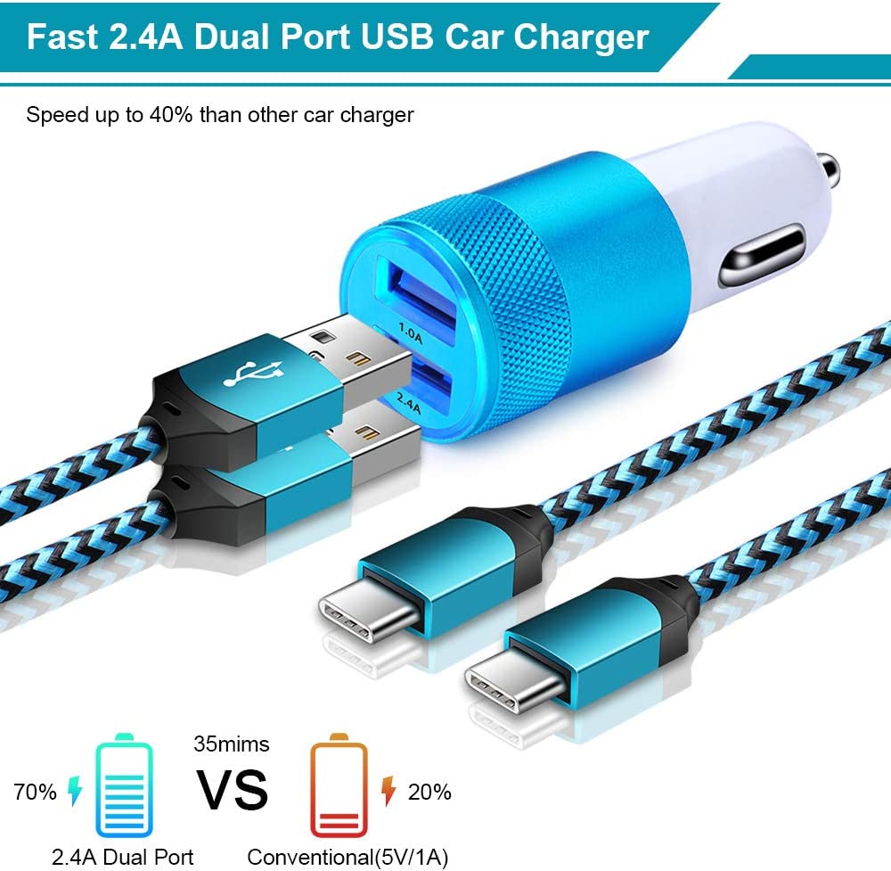 Fast USB C Charger Kit Set Dual Port USB Wall Charger 3.4A Car Charger Adapter with 2-Pack 6ft Type C Cable Compatible with Samsung Galaxy A50 A70 A40 A80 A20E A10E A30 S10E S10 S10 Plus Note 10 9 8