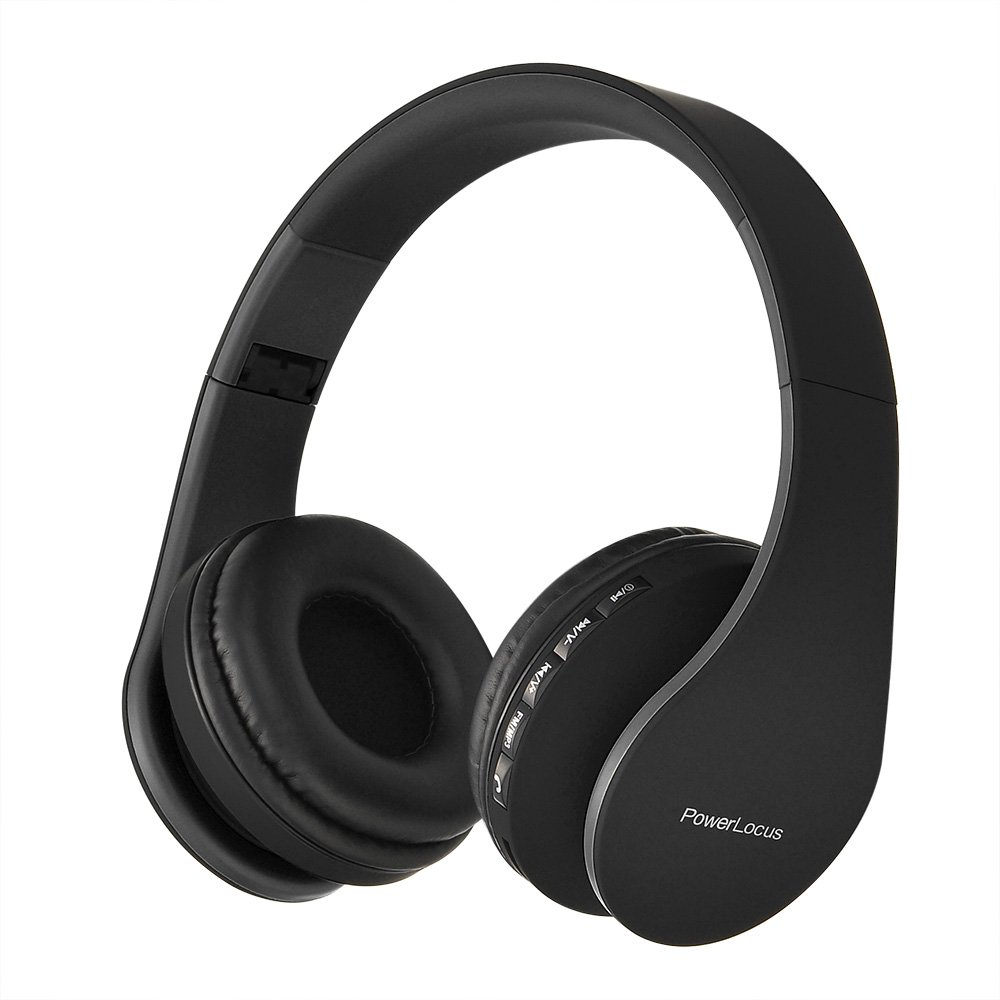 PowerLocus Wireless Bluetooth Over-Ear Stereo Foldable Headphones, Wired Headsets Noise Cancelling with Built-in Microphone for iPhone, Samsung, LG, iPad (Black)