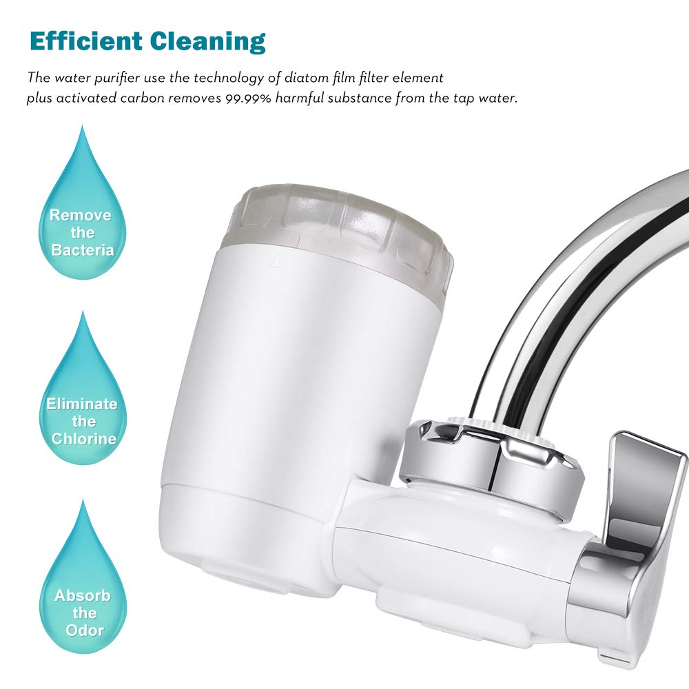 Pekyok Tap Water Purifier DT98 Healthy Water Filter System Tap Water Purifier Filter Drinking Water Filter Household Water Purifying Device Easy Install for Home Kitchen Bathroom-White