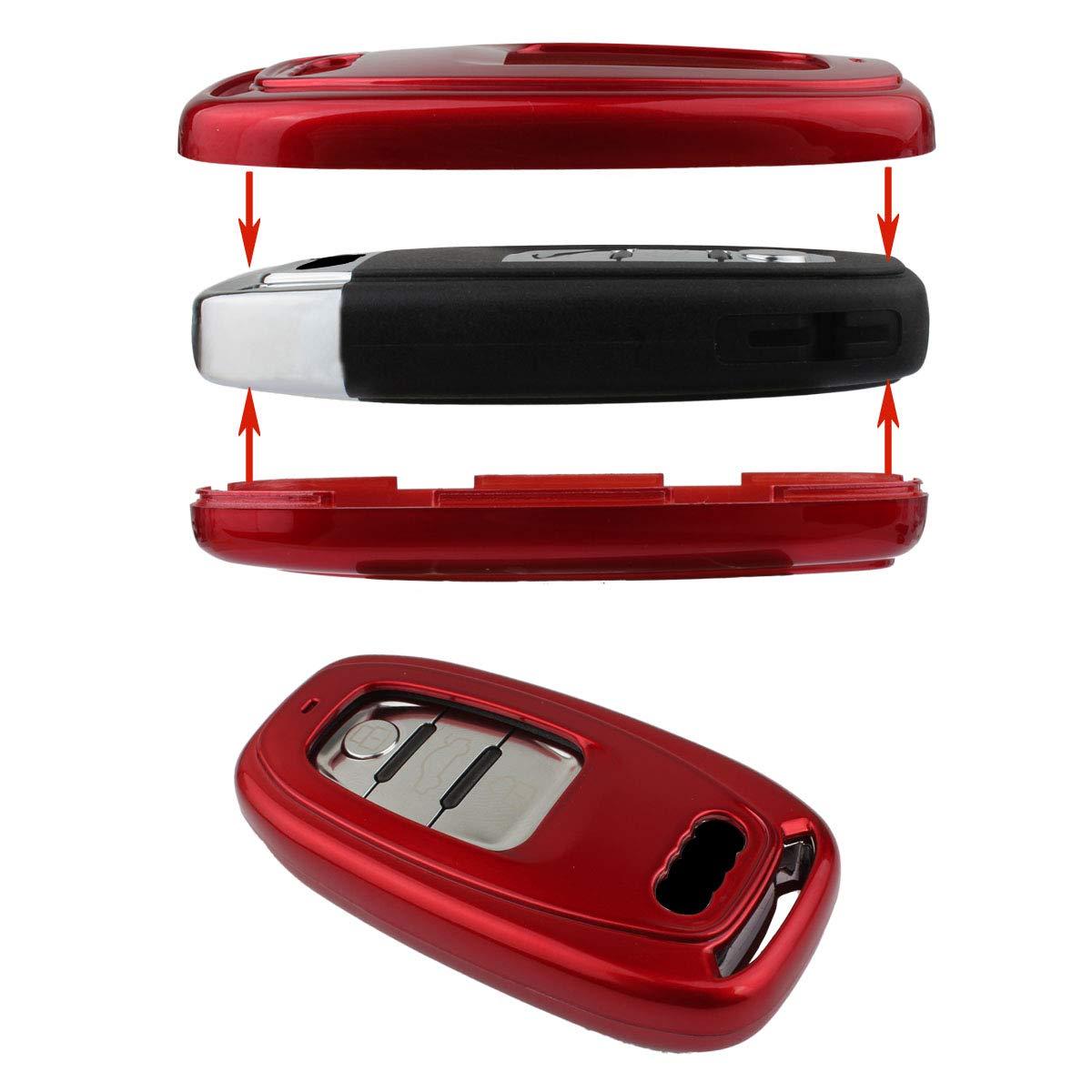 TOMALL Cubierta de llavero para Audi A4 A5 A6 A7 A8 Q5 R8 4 botones Smart Remote Key Shell Rojo