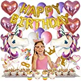 Unicorn Party Supplies and Decorations 100-pc Set by Party-Pros - Includes Gold Happy Birthday Banner, Balloons, Photo Booth Props, Cupcake Wrappers & Toppers and Headband for Girls