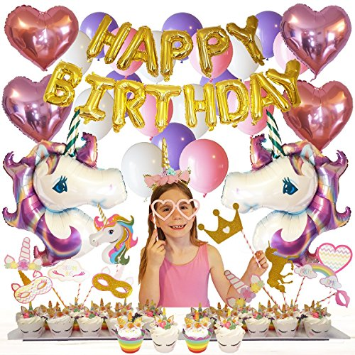 Unicorn Birthday Party Supplies and Decorations 100-pc Set by Party-Pros - Includes Gold Happy Birthday Banner, Balloons, Photo Booth Props, Cupcake Wrappers & Toppers and Headband for Girls ()