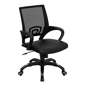 Flash Furniture Mid Back Black Mesh Swivel Task Chair with Black Leather  Seat and ArmsAmazon com  Flash Furniture Mid Back Black Mesh Swivel Task Chair  . Flash Furniture Mid Back Office Chair Black Leather. Home Design Ideas