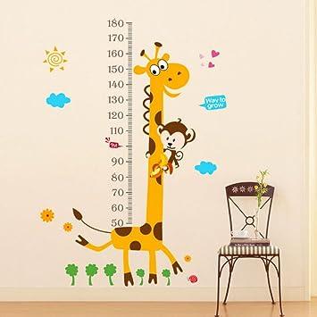 Xinhuaya Simulation Kätzchen Giraffe Höhe Messen 3D Wandtattoo PVC Gelb  Braun Light DIY Home Decor Poster