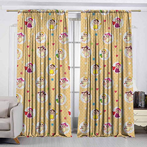 - VIVIDX Curtains for livingroom/Bedroom,Angel,Childhood Baby Nursery Kids Motherly Love Playroom Toddler Polka Dots Graphic,for Bedroom,Nursery,Living Room,W55x63L Inches Pale Yellow White