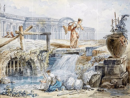A LAUNDRESS AND A WOMAN WITH A BASKET by Hubert Robert Tile Mural Kitchen Bathroom Wall Backsplash Behind Stove Range Sink Splashback 4x3 4'' Marble, Matte by FlekmanArt
