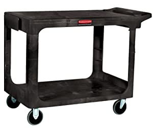 "Rubbermaid Commercial 4525-BLA Heavy-Duty Flat Shelf Utility Carts, 500 lb, 44"" x 25 1/4"" x 38 1/8"" H, Black"