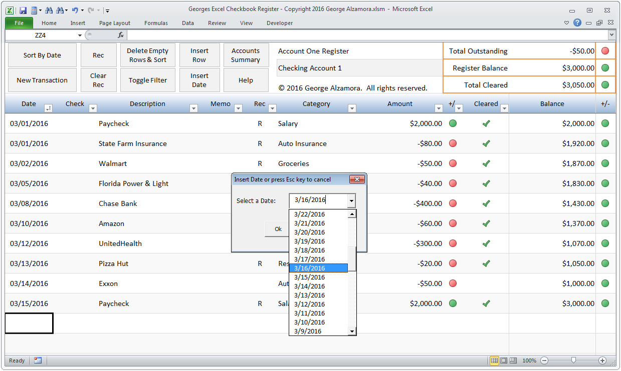 checkbook register excel checkbook register screenshot