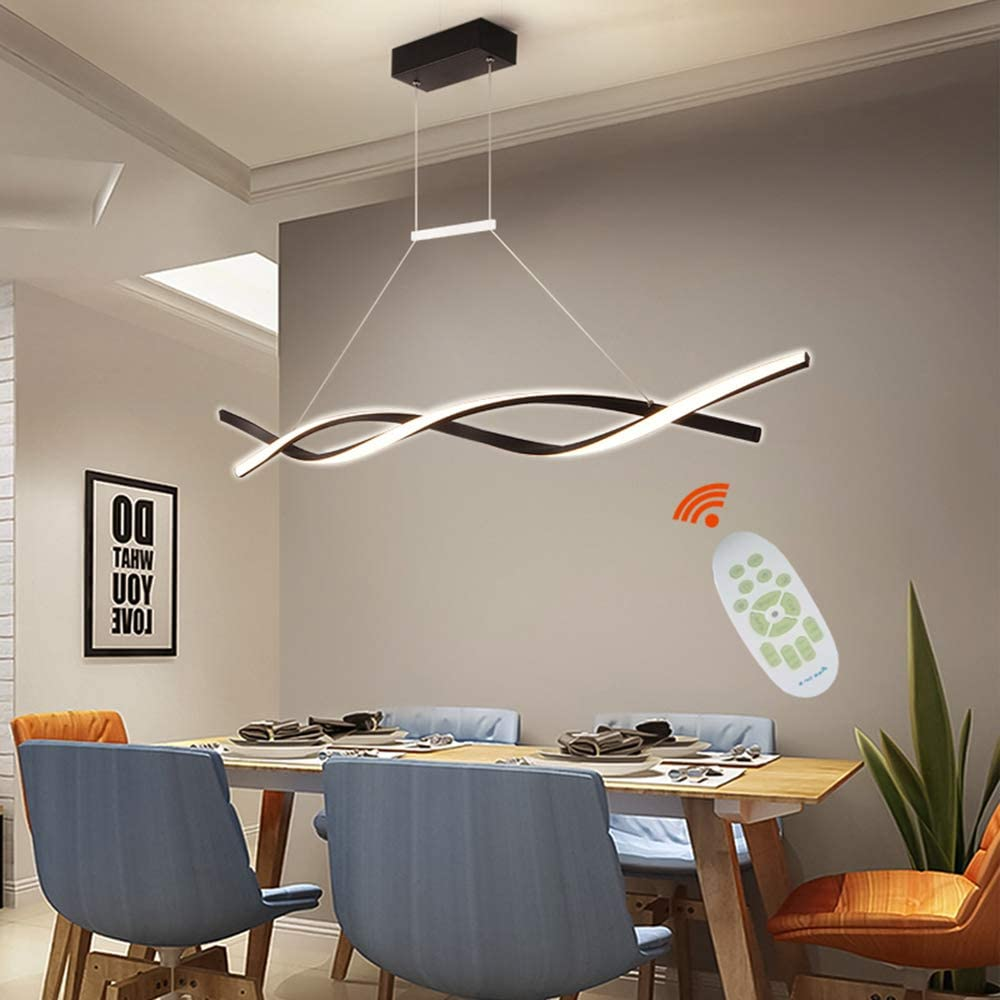 Ziplighting Modern Led Pendant Lighting For Dining Room Kitchen Island Stepless Dimmable Pendant Light With Remote Dimming Chandelier Contemporary Adjustable Ceiling Fixture Wave Ceiling Light F Amazon Com