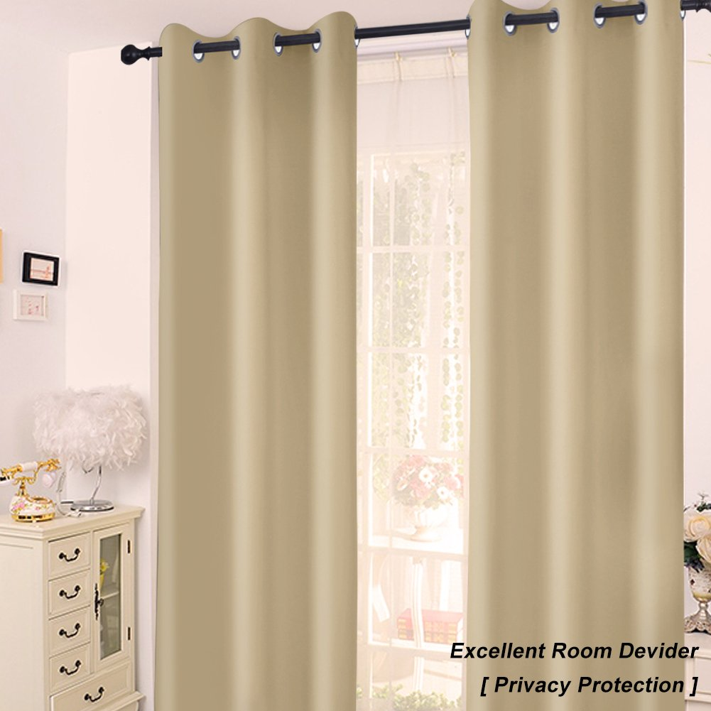GIAERD Blackout Curtain Panels for Window Treatment Wide 42 x Long 63 Inches,Solid Grommet Top Light Blocking Drapes for Living Room,2 Panels,Blue