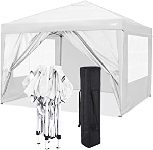 COBIZI 10'x10' Pop Up Canopy Tent Straight Leg Commercial Instant Canopy Pop Up Canopy with Sidewalls Outdoor Sun Shade Event Tent for Camping Garden Party Beach, Canopy Bags x1, (White)