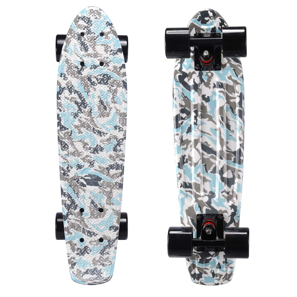Playshion Complete 22 Inch Mini Cruiser Skateboard for Beginner with Sturdy Deck Camouflage