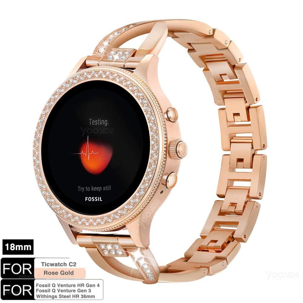 YOOSIDE para Fossil Q Venture Reloj Banda, 18 mm de liberación rápida Desmontable Acero Inoxidable Metal Bling Reloj Correas para Ticwatch C2 Oro ...