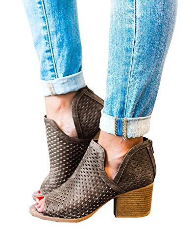 b14e6b76392 Fashare Womens Fall Open Toe Booties Cutout Perforated Block Heel Ankle  Boots with Back Zipper Brown