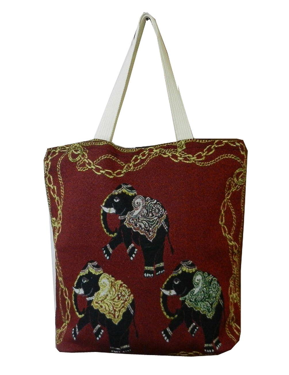0717643ff46f BTP! Ethnic Thai Elephant Tote Beach Bag Simplicity Handbag Canvas Cotton  Purse - More Design