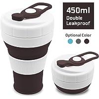 Plegable Taza, plegado de café taza de viaje de silicona a prueba de fugas taza regalo taza 350 ML 100% de calidad alimentaria sin BPA para Camping senderismo