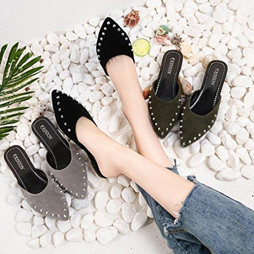 Cooljun Frauen Mode Wildleder Nieten Flache Schuhe Spitzschuh Slipper Sandalen Black