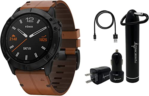Garmin Fenix 6X Premium Multisport GPS Watches with Pulse OX, Routable Maps and Music with Included Wearable4U Power Pack Bundle Sapphire, Black DLC with Chestnut Leather Band