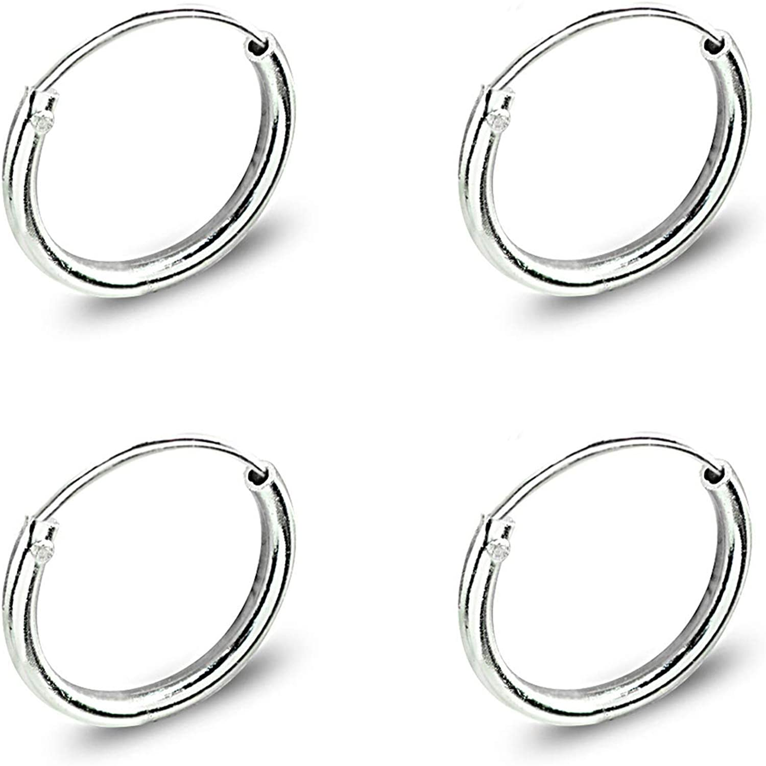 Set of 2 Sterling Silver Small Endless 10mm Thin Round Cartilage Hoop Earrings for Men Women