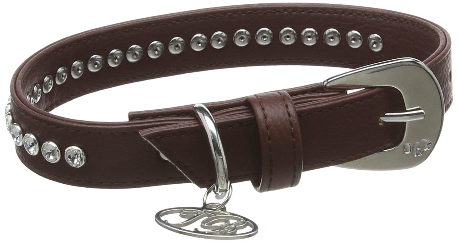 Trilly Tutti Brilli Megan Dog 's Halsband mit Kristall Swarovski Nieten, 40cm, braun