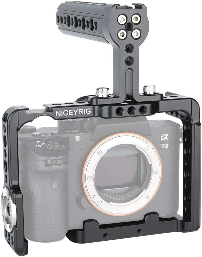 190 with Cheese Top Handle and HDMI Cable Lock NICEYRIG Camera Cage Kit for Sony A7RIII// A7III// A7RII// A7SII// A7II// A9 II
