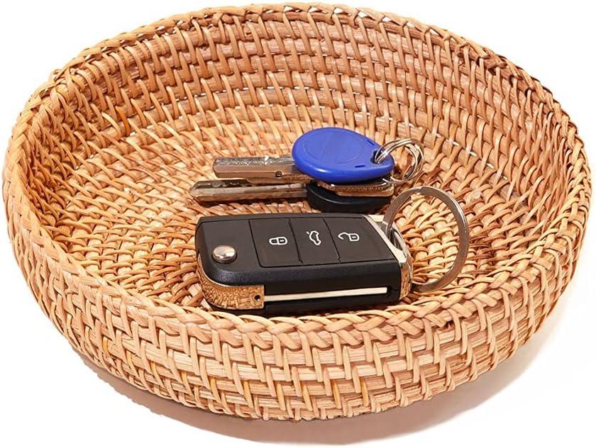 Small Round Keys Storage Basket Tabletop Organizer Basket for Keys Wallet Cell phone Restaurant Food serving Basket for Fruit Candy Cake