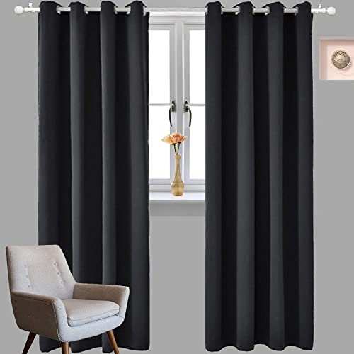 iEventStar Blackout Curtains Thermal Insulated Grommet Drapery Panels Darkening Window Curtains for Bedroom Living Room 2 Panels Black, 52 W x 95 L
