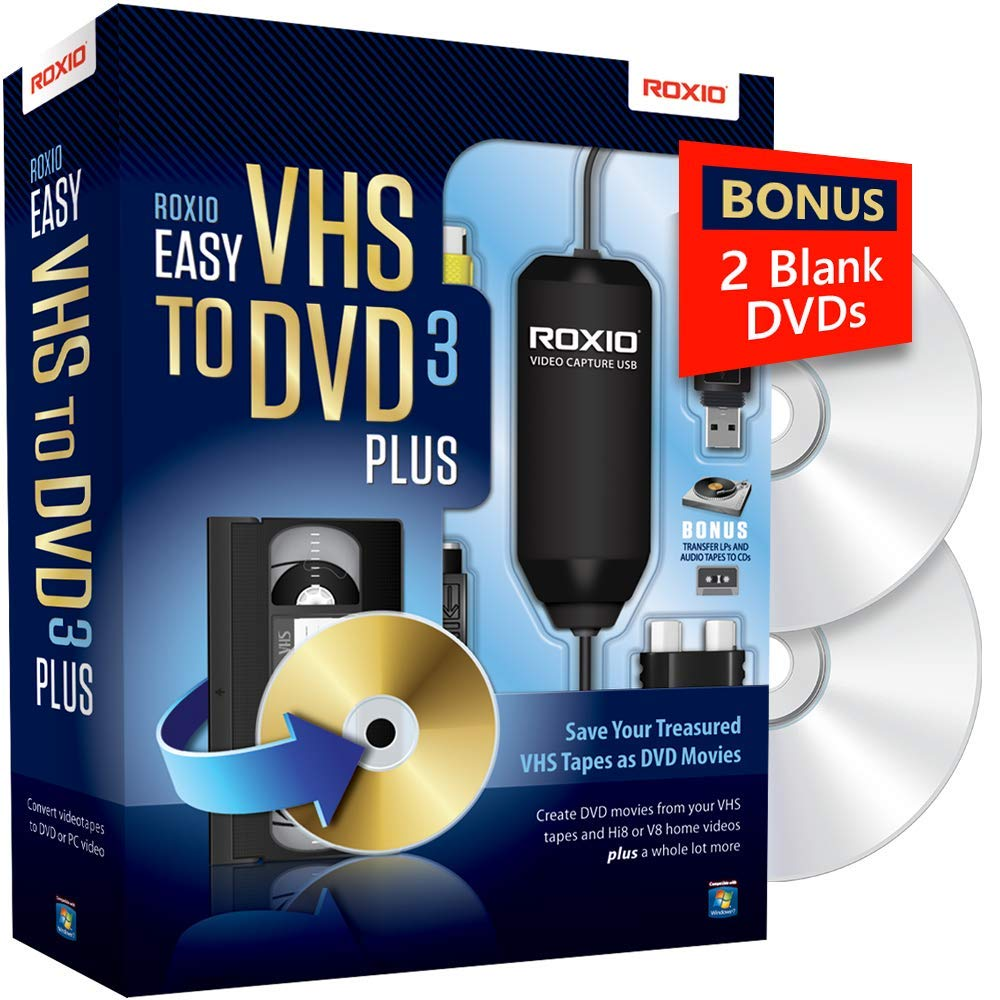 Roxio Easy VHS to DVD 3 Plus - Video to DVD Converter with 2 Extra DVDs - Amazon Exclusive [Key Card] by ROXIO