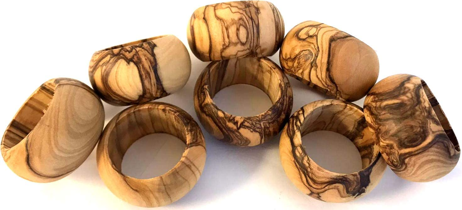 Holy Land Market Bethlehem Olive Wood Napkin Rings - Set of 8 (Ring is 1.8 Inches in Diameter and 0.9 Inches high)