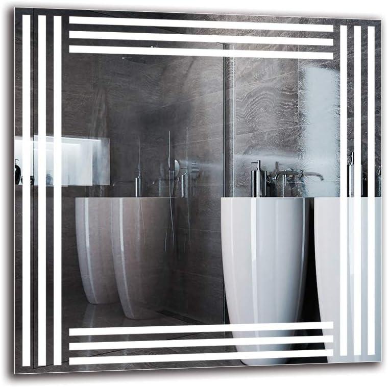 Bianco Caldo 3000K Dimensioni dello Specchio 40x40 cm Specchio LED Premium Specchio a Muro Specchio per Bagno Specchio con Illuminazione Pronto per Essere Appeso ARTTOR M1CP-51-40x40