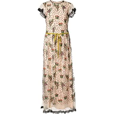 f8cea0a60fd Red Valentino Floral Embroidery Long Dress MR3VA04N Beige at Amazon ...