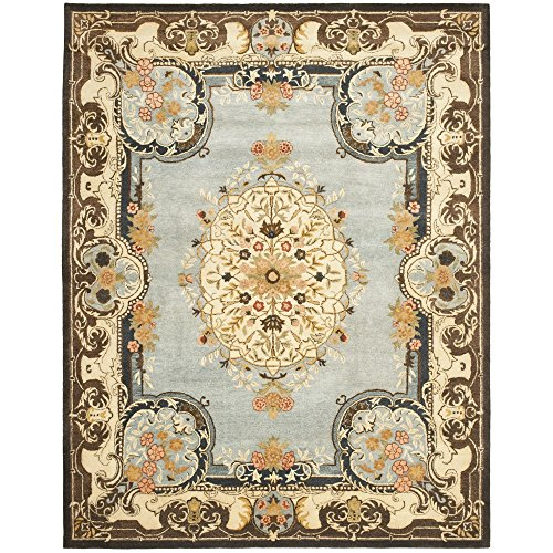 Safavieh Bergama Collection BRG141A Handmade Light Blue and Ivory Premium Wool Area Rug (8' x 10') (Collection Bergama 10')