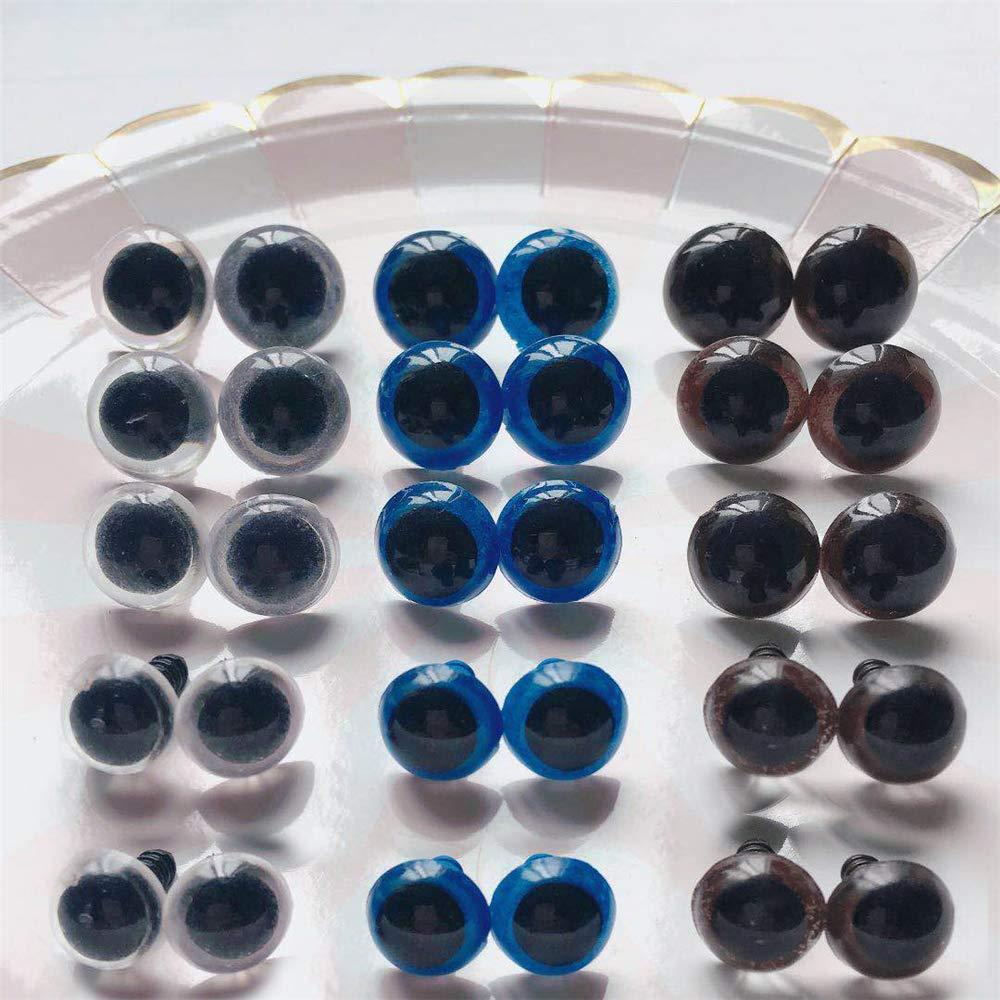 HuntGold 20 Teile//Set Rund Kunststoff Klar Teddyb/är Spielzeug Sicherheit Augen Tierpuppe Handwerk 14 mm Blau