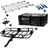 Nevlers Folding Hitch Mount Cargo Carrier with Net, Cargo Storage Bag, 2 Blue Straps and 2 Blue Ratchet Straps and Bonus…