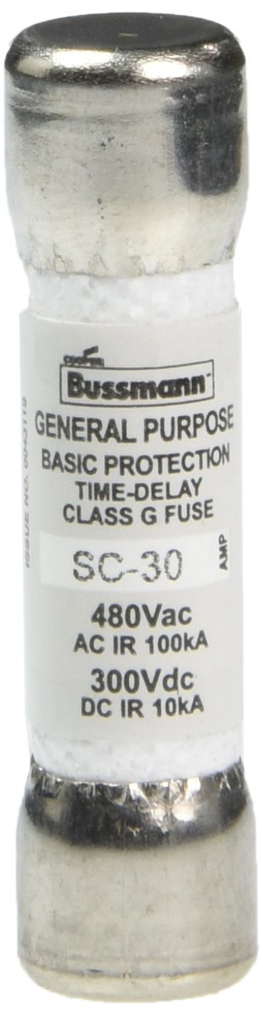 Bussmann SC-30BC 30 Amp Time-Delay Class G Melamine Tube, 600V UL Listed 1-In Bag