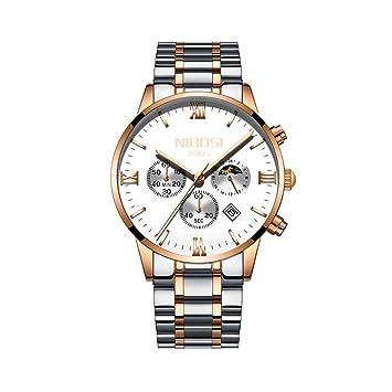 WULIFANG Sol Luna Fase Watch Relojes De Cuarzo Hombres Famosos Hombres De Moda Casual Ejército Militar Impermeable Reloj De Pulsera Blanco-Rosa: Amazon.es: ...
