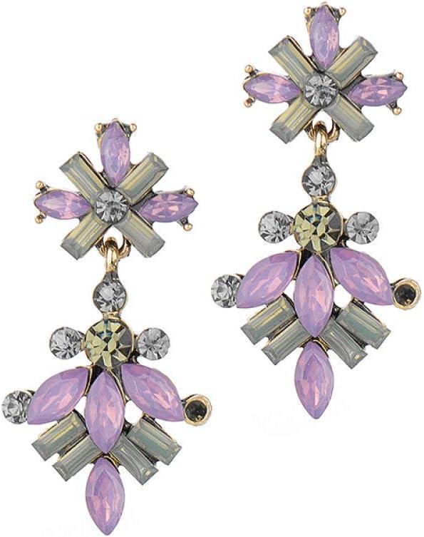 TGHYB Pendientes Mujer,Moda Vintage Bohemio Púrpura Ópalo Piedra De Cristal Flor Pendientes Colgantes Finos Encantos del Banquete De Boda Joyas Regalos para Hombres Mujeres Niñas