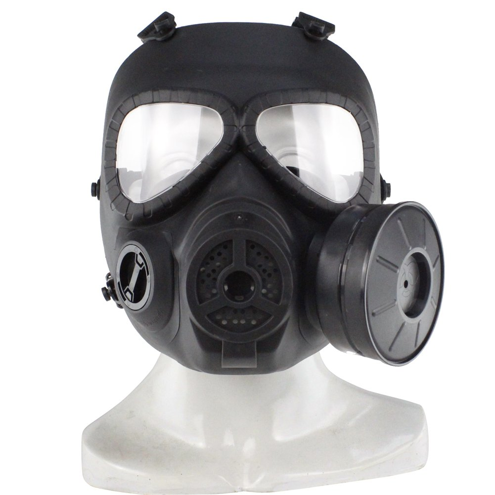 color Black Fishagelo Hunting Tactical Skull V4 Avengers Cosplay Toxic Full Face M04 Military CS Airsoft Safety Gas Mask Fishagelo (color   color Black)