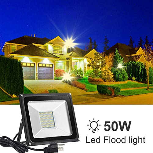 Catinbow 50W LED Outdoor Flood Spot Light, 4000LM Warm White 3000K IP65 Waterproof Outdoor Spotlight Work Flood Lights, Security Light with US 3-Plug for Patio, Deck, Yard, Garden