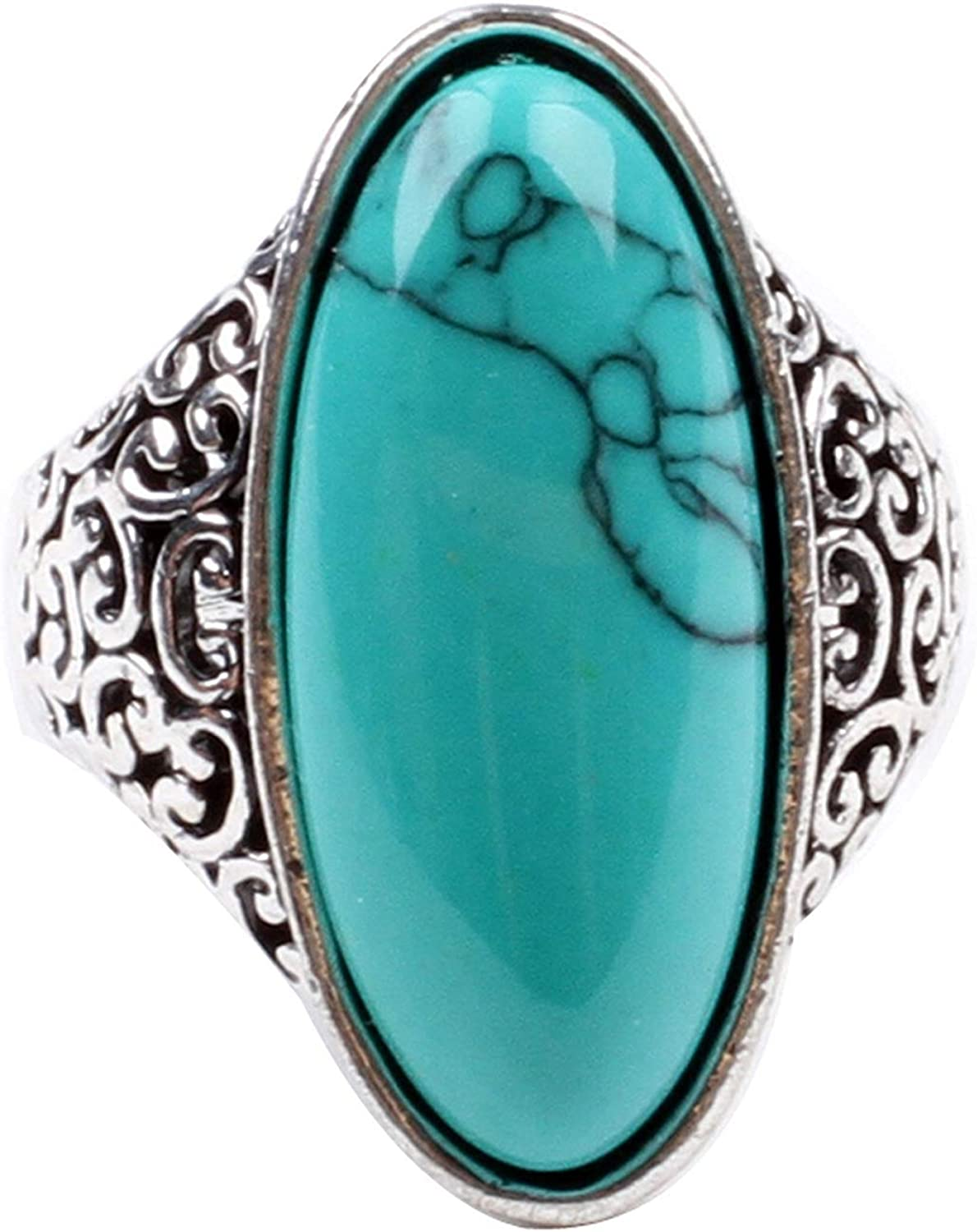 LadayPoa Women's Shion Cubic Zircon Synthetic-Turquoise Ring Size