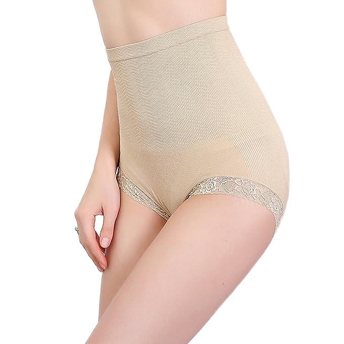 574e455ec00ae BOMIMI Women s Shapewear Lace Hi-Waist Panty Tummy Control Panties Seamless Body  Shaper 3 Pack