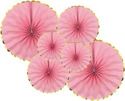 Amazon.com: KAXIXI Juego de abanicos de papel para fiesta, 6 ...