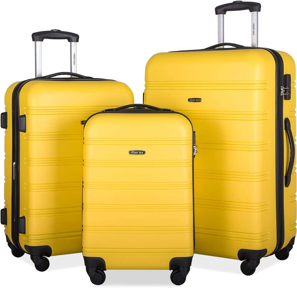 Merax 3 Pcs Luggage Set Expandable Hardside Lightweight Spinner Suitcase with TSA Lock Upgraded Version yellow2019