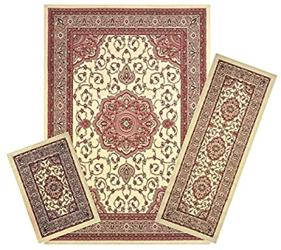 Modela Collection Area Rug 3pc Set Area Rug, Runner, and Doormat Set