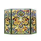 Chloe Lighting Bardot Tiffany-Glass Victorian 3pcs Folding Fireplace Screen 40'' Wide
