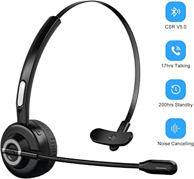 Amazon Com Bluetooth Headphones With Microphone Wireless Bluetooth Headset On Ear Noise Canceling Pc Headset With Crystal Clear Sound For Cell Phones Tablet Home Office Skype Truck Drive Call Center Home Audio