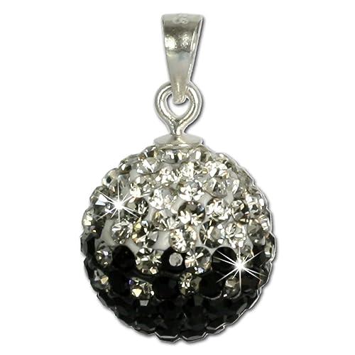 SilberDream Glitzer Anhänger Swarovski Kristalle schwarz ICE Silber Kettenanhänger mit Glitzerkristallen für Kette oder Halskette GSH001